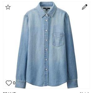 Uniqlo denim button down shirt S